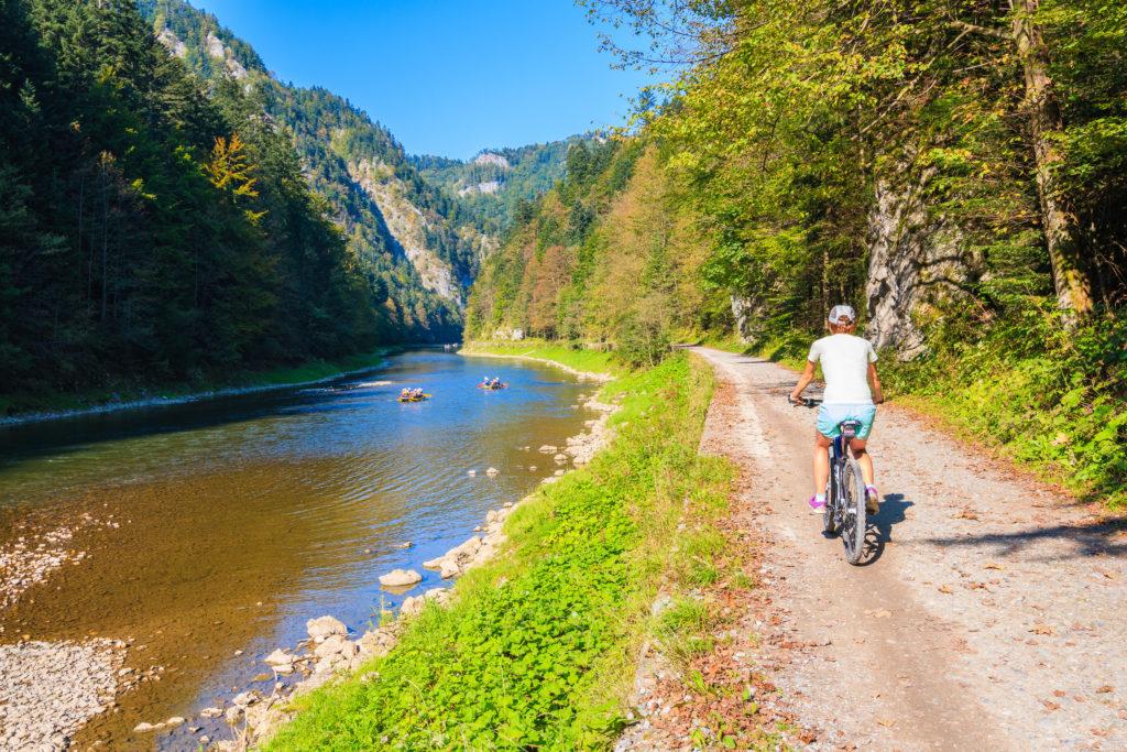 Trasa rtowerowa w Pieninach z widokiem na Dunajec