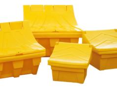 Żółty pojemnik na piach i sól