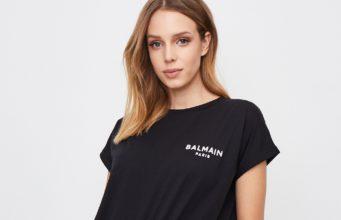 kobieta czarny t-shirt z logo balmain