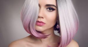 dziewczyna z szaro różowym bobem ombre