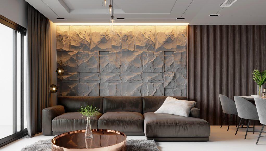 aranżacja z naturalnego kamienia w salonie