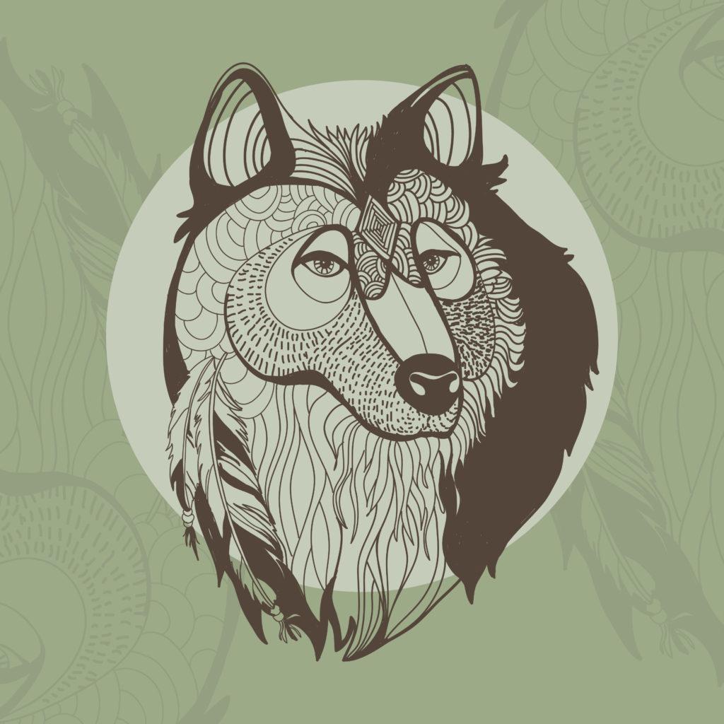 projekt tatuaż wilk