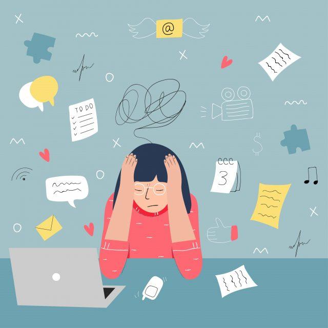 zestresowana dziewczyna przed komputerem